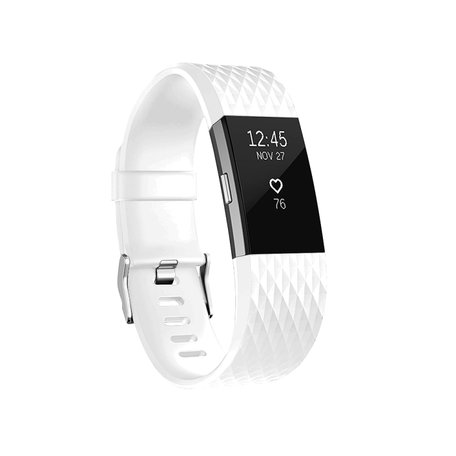 Fitbit Charge 2 siliconen bandje - Maat: Small - Wit