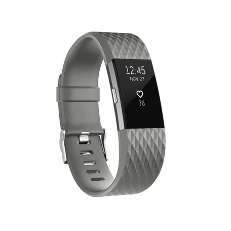 Fitbit Charge 2 siliconen bandje - Maat: Small - Donkergrijs