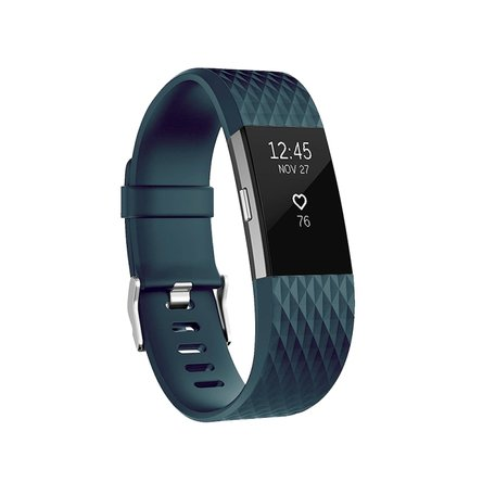Fitbit Charge 2 siliconen bandje (Large) - Grijsblauw
