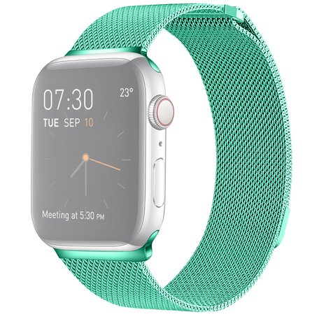 Milanees Apple watch bandje 42mm / 44mm RVS - Mint groen