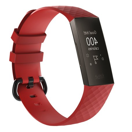 Fitbit Charge 3 & 4 siliconen diamant pattern bandje (Large) - Rood