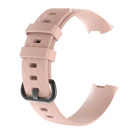 Fitbit Charge 3 & 4 siliconen diamant pattern bandje (Large) - licht roze