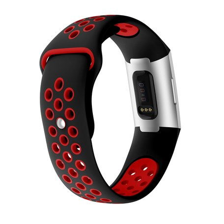 Fitbit Charge 3 & 4 siliconen DOT bandje - Rood / Zwart (Small)