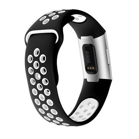 Fitbit Charge 3 & 4 siliconen DOT bandje - Wit / Zwart (Large)