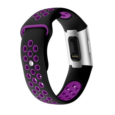 Fitbit Charge 3 & 4 siliconen DOT bandje - Paars / Zwart (Large)