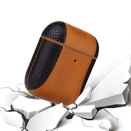 AirPods 1/2 hoesje PU Leer Flip-over - Zilver /zwart