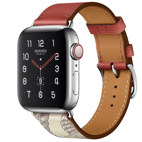 Apple watch 42/44mm leren band met print - rood