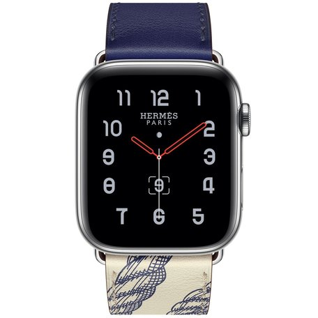 Apple watch 42/44mm leren band met print - blauw