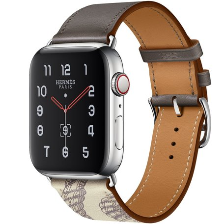 Apple watch 42/44mm leren band met print - bruin