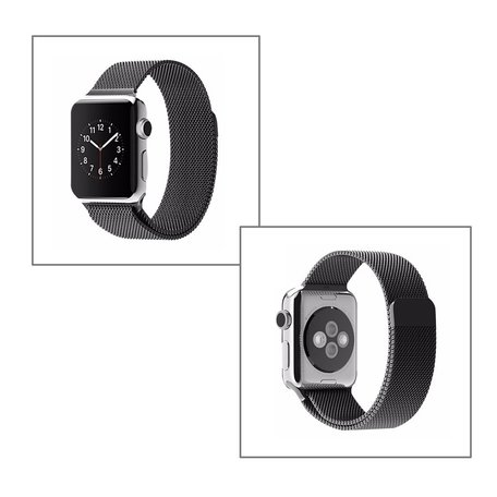 Milanees Apple watch bandje 38mm / 40mm RVS - Zwart
