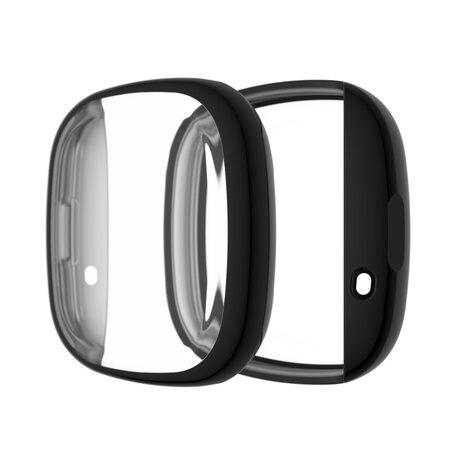 Fitbit Versa 3 / Sense Soft TPU case (volledig beschermd) - Zwart