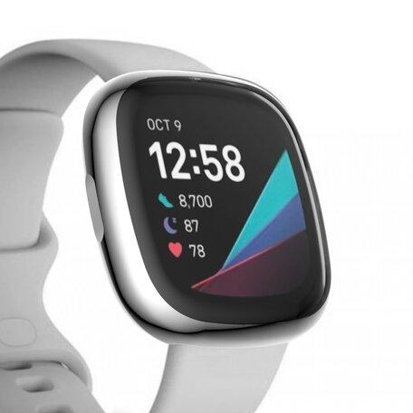 Fitbit Versa 3 / Sense Soft TPU case (volledig beschermd) - Zilver