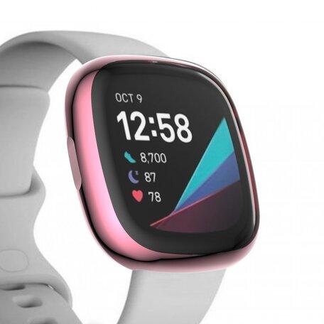 Fitbit Versa 3 / Sense Soft TPU case (volledig beschermd) - Roze