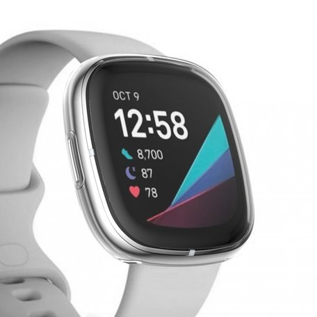 Fitbit Versa 3 / Sense Soft TPU case (volledig beschermd) - Transparant