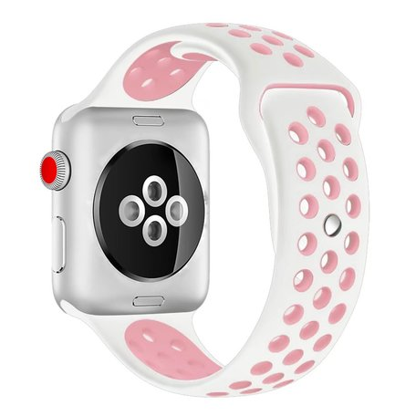 Apple watch sportbandje 38mm / 40mm - Wit + Roze