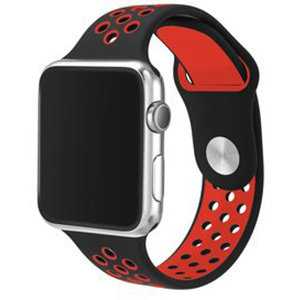Apple watch sportbandje 42mm / 44mm - Zwart + Rood