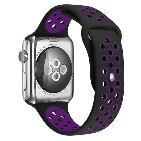 Apple watch sportbandje 42mm / 44mm - Paars + Zwart