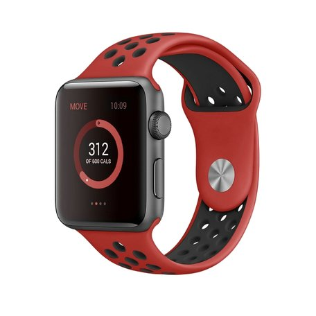 Apple watch sportbandje 42mm / 44mm - Rood + Zwart