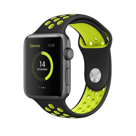 Apple watch sportbandje 42mm / 44mm - Zwart + Geel
