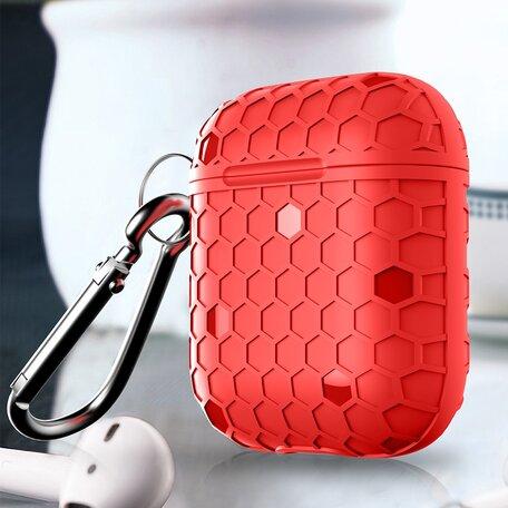 AirPods 1/2 hoesje Hexagon TPU soft serie - rood