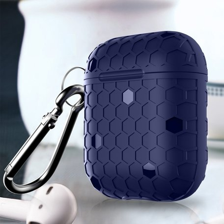 AirPods 1/2 hoesje Hexagon TPU soft serie - blauw