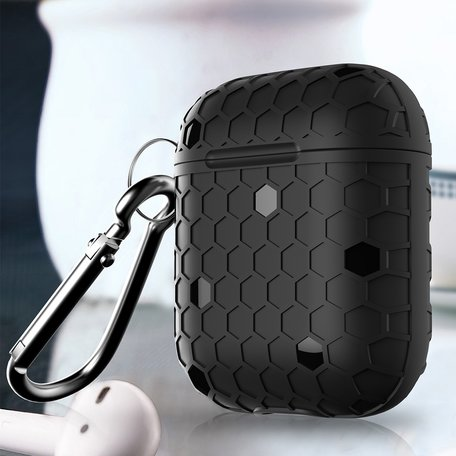 AirPods 1/2 hoesje Hexagon TPU soft serie - zwart
