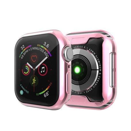 Apple watch 44mm siliconen case (volledig beschermd - roze)