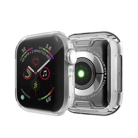 Apple watch 44mm siliconen case (volledig beschermd - Transparant)