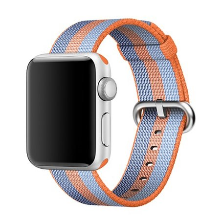 Nylon Apple watch 38mm / 40mm bandje - Oranje / Blauw