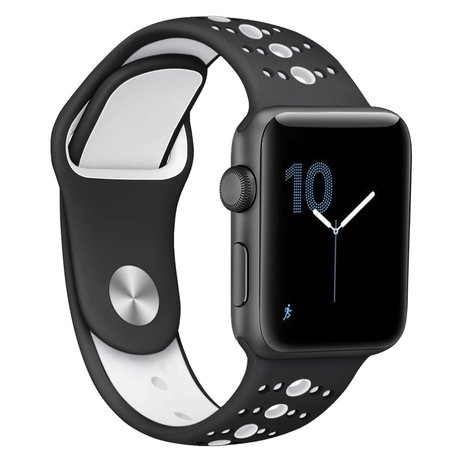 Apple Watch sportbandje 38mm / 40mm combi-kleuren - Zwart + wit