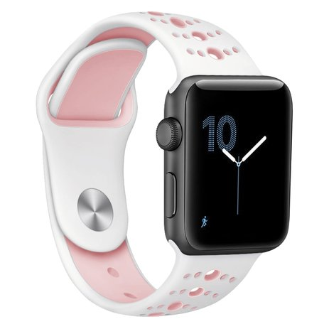 Apple watch sportbandje 38mm / 40mm combi-kleuren - Wit + Roze
