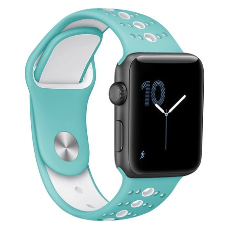 Apple Watch sportbandje 42mm / 44mm combi-kleuren - Blauw + wit