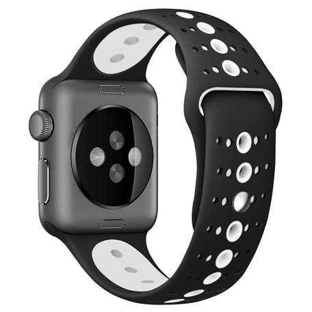 Apple Watch sportbandje 42mm / 44mm combi-kleuren - Zwart + wit