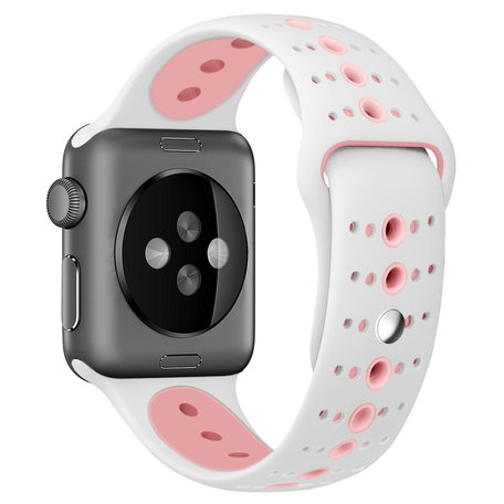 Apple watch sportbandje 42mm / 44mm combi-kleuren - Wit + Roze
