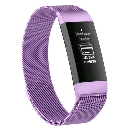Fitbit Charge 3 & 4 milanese bandje (large) - Lichtpaars