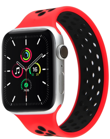 Apple Watch 38mm / 40mm - Maat: M - Solo Loop Sportbandje - Rood + Zwart