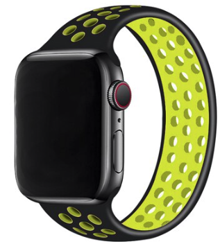 Apple Watch 38mm / 40mm - Maat: M - Solo Loop Sportbandje - Zwart + Geel