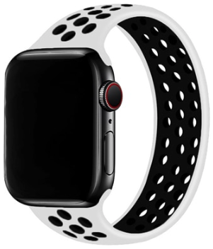 Apple Watch 38mm / 40mm - Maat: M - Solo Loop Sportbandje - Wit + Zwart