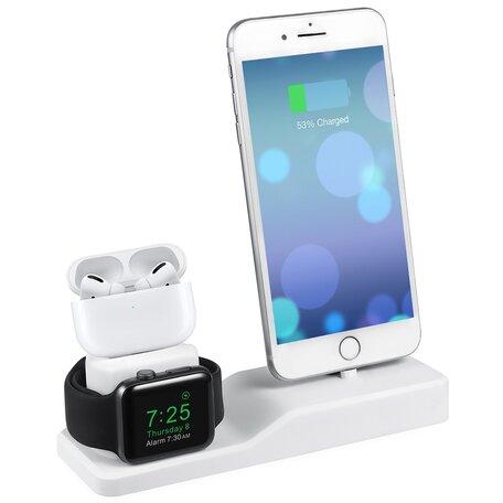 3 in 1 houder geschikt voor Apple Watch & Airpods & iPhone - Wit