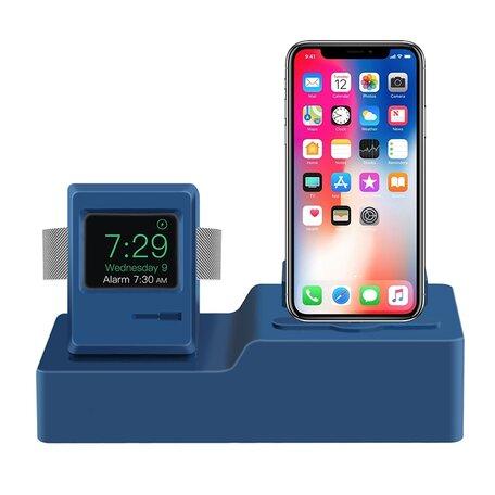 3 in 1 houder geschikt voor Apple Watch & Airpods & iPhone Standaard - Donkerblauw