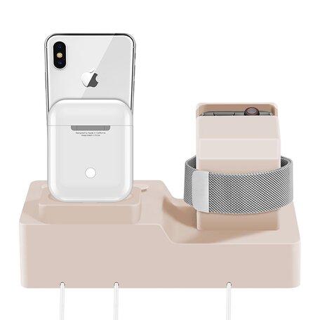 3 in 1 houder geschikt voor Apple Watch & Airpods & iPhone Standaard - Zand roze