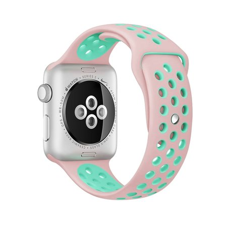 Apple watch sportbandje 38mm / 40mm - Roze + Groen - M/L