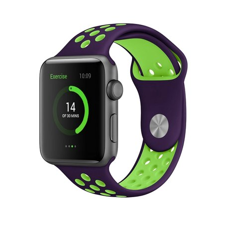 Apple watch sportbandje 38mm / 40mm - Paars + Groen - M/L