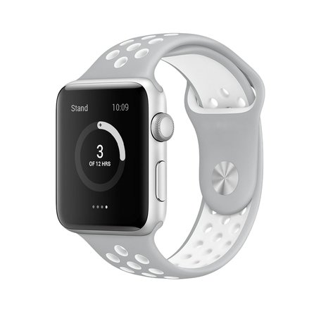 Apple watch sportbandje 38mm / 40mm - Grijs + Wit - M/L