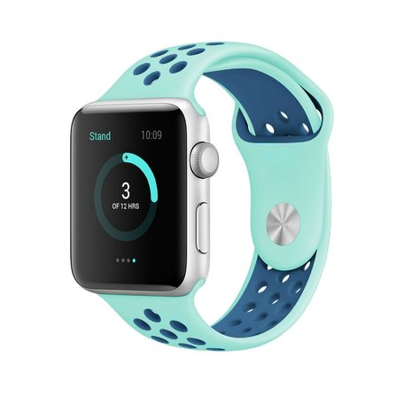 Apple watch sportbandje 38mm / 40mm - Blauw + Groen - M/L