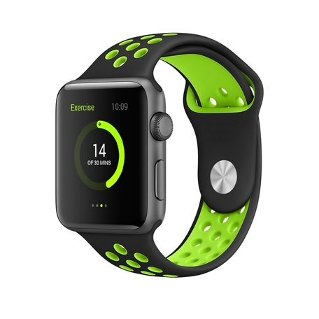 Apple watch sportbandje 38mm / 40mm - Zwart + Groen - M/L