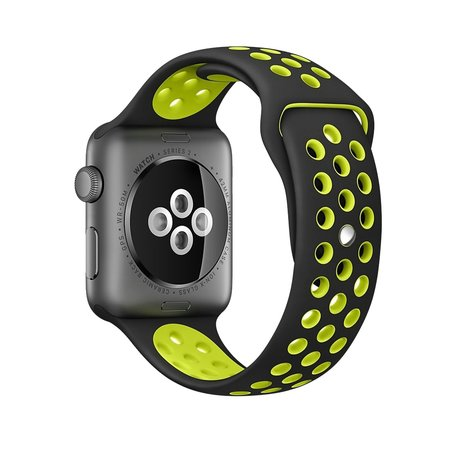 Apple watch sportbandje 38mm / 40mm - Zwart + Geel - M/L