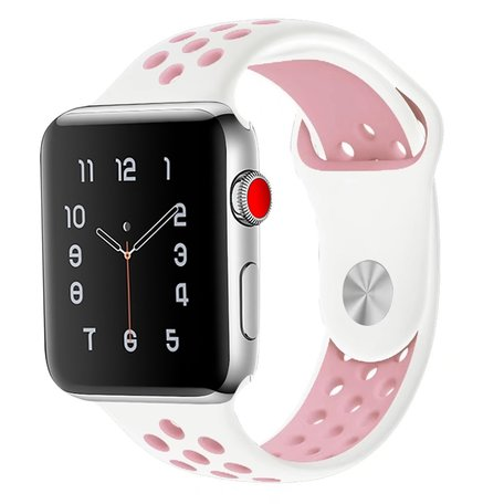 Apple Watch 38mm / 40mm - Sportbandje - Wit + Roze - M/L