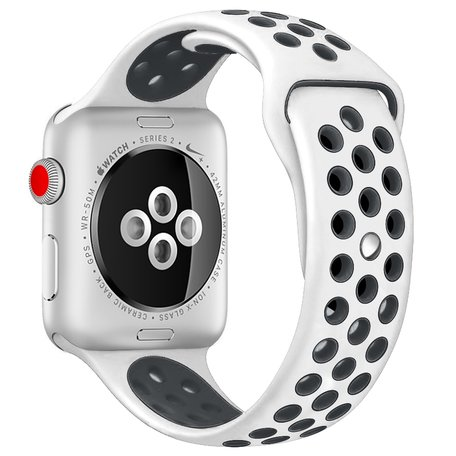 Apple Watch 38mm / 40mm - Sportbandje - Wit + Zwart - M/L