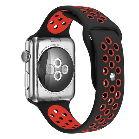 Apple Watch 38mm / 40mm - Sportbandje - Zwart + Rood - M/L